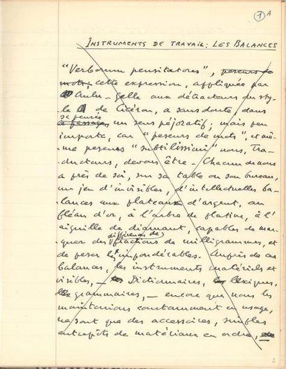 Valery LARBAUD. Manuscrit autographe, Les Balances; 6 pages et demie petit in-4...