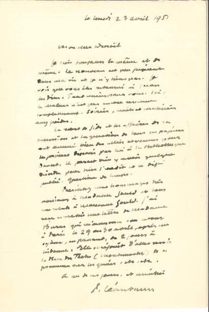 Paul LÉAUTAUD (1872-1956). L.A.S., 23 avril 1951, à Jean Denoël; 1page in-8. Sur...