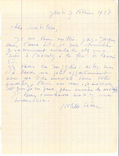 Violette LEDUC (1913-1972). 4 L.A.S. «Violette», à Madeleine Castaing (une à son...