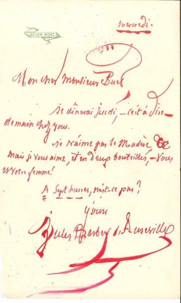 Jules BARBEY D'AUREVILLY. L.A.S., mercredi,...