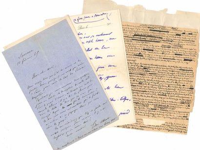 Littérature. 37 lettres ou pièces, la plupart L.A.S. Edmond About, Théodore de Banville,...