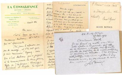 Littérature. 97 lettres ou pièces, la plupart L.AS. ou cartes a.s., au journaliste...