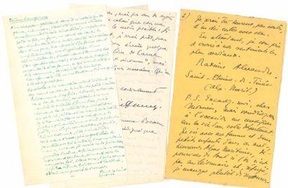 Littérature. 8 L.A.S. et 2 manuscrits autographes signés. Maxime Alexandre (Saint-Étienne...
