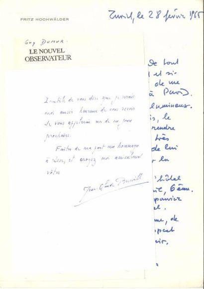 LITTÉRATURE. 6 L.A.S., 1939-1968. Jean-Claude Brisville, Guy Dumur, Fritz Hochwälder...