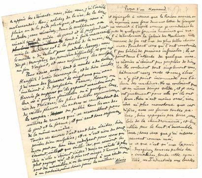 Émile Chartier dit ALAIN. 2 manuscrits autographes...