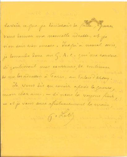 Pierre LOTI. L.A.S., Paris 24 mai [1916];...