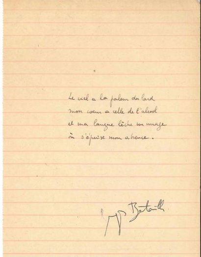 Georges BATAILLE (1897-1962). Poème autographe...
