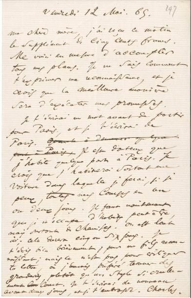 Charles BAUDELAIRE (1821-1867). L.A.S. «Charles»,...