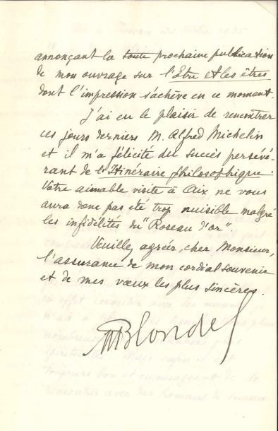 Maurice BLONDEL (1861-1949), philosophe....