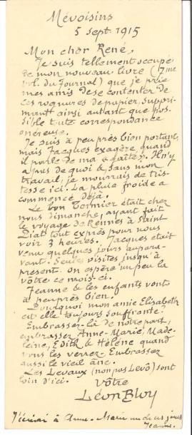 Léon BLOY. L.A.S., Mévoisins 5 septembre...