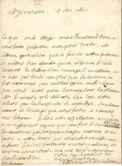 Jacques-Bénigne BOSSUET (1627-1704). L.A.S....