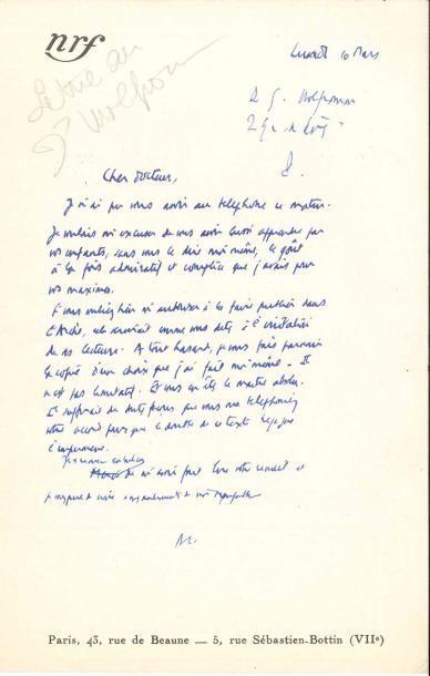 Albert CAMUS (1913-1960). L.A.S. «AC» (minute),...