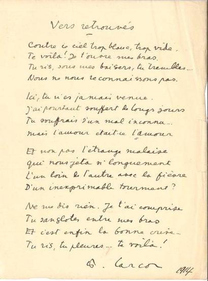 Francis CARCO (1886-1958). Poème autographe...