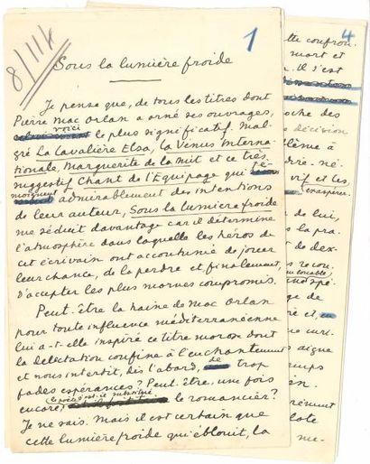 Francis CARCO. Manuscrit autographe signé,...