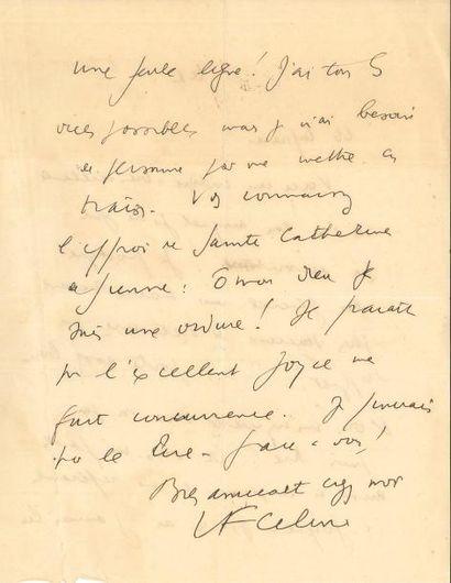 Louis-Ferdinand CÉLINE. L.A.S., «le 1»...
