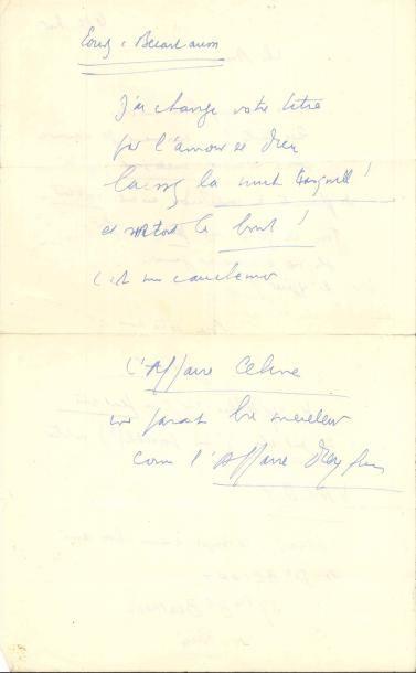 Louis-Ferdinand CÉLINE. L.A.S. «LFC», [Korsør]...