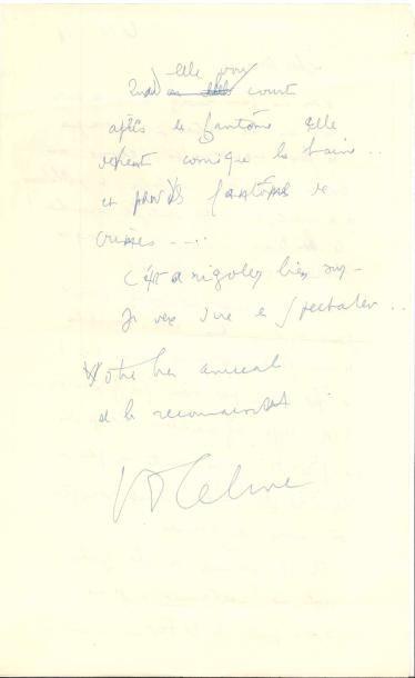 Louis-Ferdinand CÉLINE. L.A.S., [Klaskovgaard]...