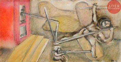 ATILA (XXe siècle) Composition, 1985 Huile...