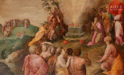École FLAMANDE vers 1600 Le Veau d'or Toile,...