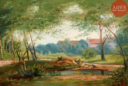 Alexandre DEFAUX (1826-1900) Paysage Panneau...