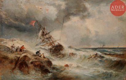 Attribué à Jules DUPRE (1811 - 1889) Marine...