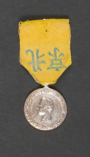 FRANCE Médaille de Chine (1860). Argent (bélière...