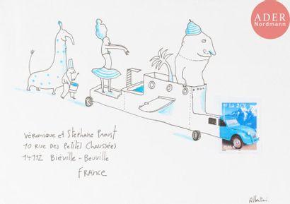 ALBERTINE Le char de carnaval Encre et crayons...