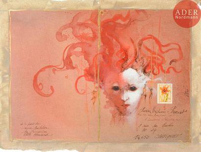 Anne BACHELIER (née en 1949) Visage fantastique...
