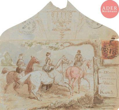 ECOLE ANGLAISE DU XIXe siècle Les cavalières,...