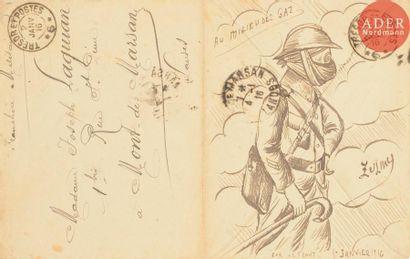 ECOLE FRANCAISE 1916 Au milieu des gaz Encre...