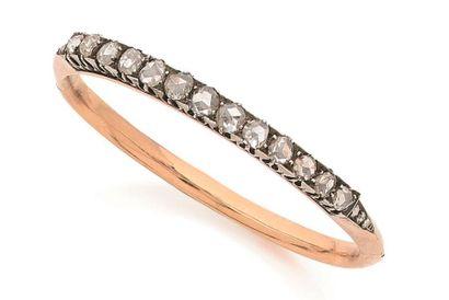 Bracelet ouvrant en or rose 18K (750 ‰),...