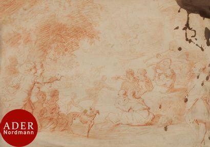 ÉCOLE FLAMANDE du XVIIIe siècle La Course...