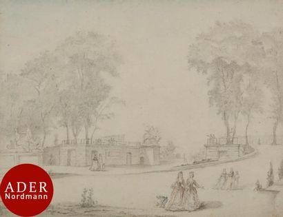 ÉCOLE FRANÇAISE du XVIIIe siècle Vue de l'entrée...