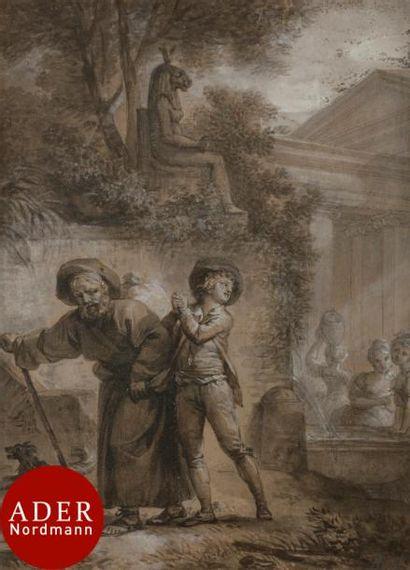 ÉCOLE FRANÇAISE du XVIIIe siècle Projet d'illustration...