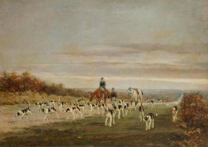 René PRINCETEAU (1843-1914) Chasse à courre...