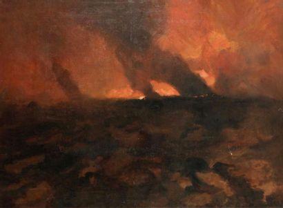 René PRINCETEAU (1843-1914) Incendie Huile...