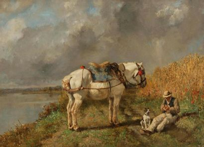 Jules Jacques VEYRASSAT (1828-1893) Paysan...
