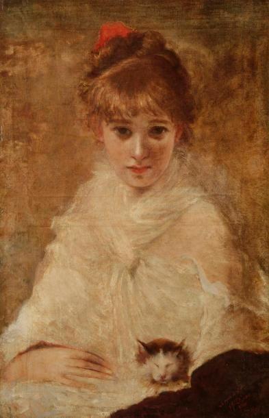 Alexandre ALAUX (1851-1932) Jeune femme au...