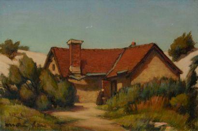 André FAU (1896-1982) Ferme dans les dunes,...