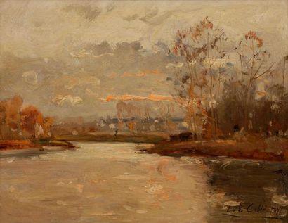 Louis CABIE (1853-1939) Bord de rivière,...