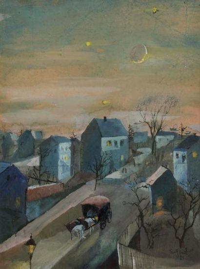 Ewald PLATTE (1894-1985) Calèche en ville...