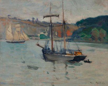 Paul MORCHAIN (1876-1939) Bateaux dans un...