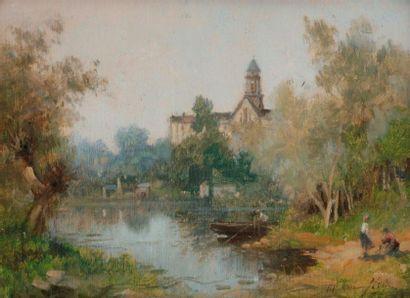 Maurice LÉVIS (1860-1940) Lavandières à Saint-Florent-le-Vieil...