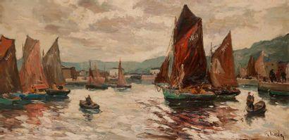 Fernand HERBO (1905-1995) Port animé Huile...