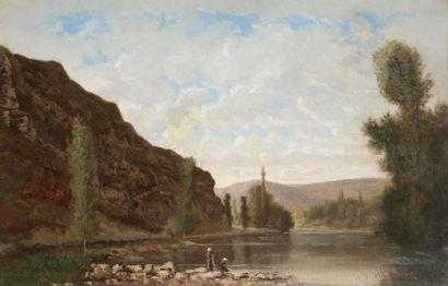 Eugène Alfred CAPELLE (1834-1887) Lavandières...
