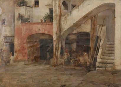 Vincenzo CAPRILE (1856-1936) Vue d'une cour...