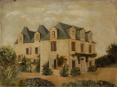 Tableau naïf sur toile figurant une maison...