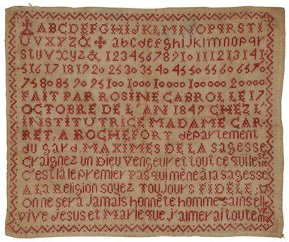 Abécédaire 1847 monochrome en fil rouge,...