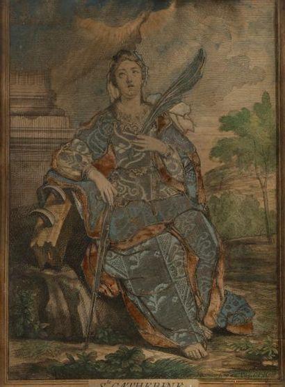 Gravure habillée, première moitié du XVIIIe...