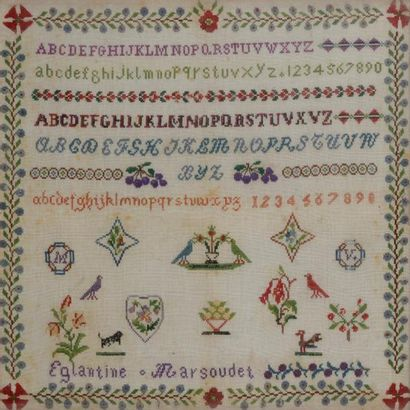 Abécédaire réalisé sur une toile de coton,...